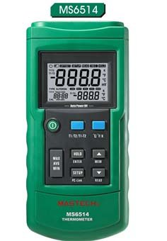 Mastech MS6514 Dual Channel Digital Thermometer Tester USB Interface 0.1 Ct Channel Set