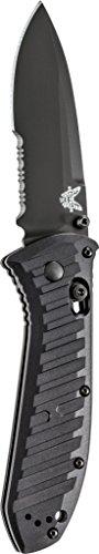 (Benchmade - Manual Presidio II 570 Knife, Drop-Point Blade, Serrated Edge, Coated Finish, Black Handle)