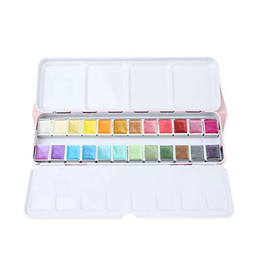 ALXDR Watercolor Paint Set, 24/48 Pearlescent Color Cakes, Glitter Solid Colors, with Pocket Metal Case for Travel Painting,24COLOURS