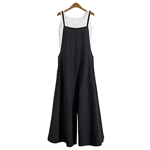 TEARMER Women Jumpsuits Linen Overalls Romper - Casual Long Loose Sling Onepiece Bib Pants(XL,Black)