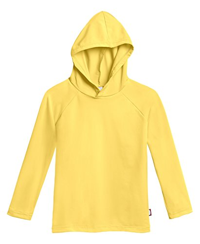 City Threads Little Boys' and Girls' Hooded Long Sleeve Rashguard for Sun Protection Beach Pool Swimming Tee, Yellow, - Long Pool Sleeve