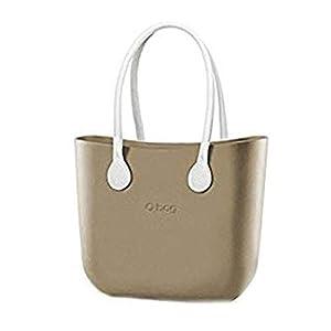 Borsa o Bag completa Grande sabbia manici eco pelle bianchi 2