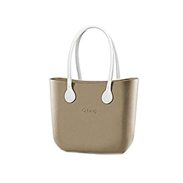 Borsa o Bag completa Grande sabbia manici eco pelle bianchi 1