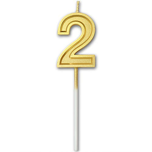 Dollet Birthday Candles Number 2 Cake Topper Decoration Gold Glitter Candle for Party Anniversary Kids Adults (2 Cake Candle Topper Number)