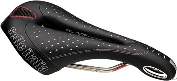 - selle ITALIA Max Flite Gel Flow Men's Bicycle Saddle (Vanox Rails, Black)