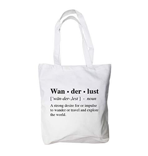 Wanderlust Canvas Tote Bag - 12 Oz 100% Cotton (15