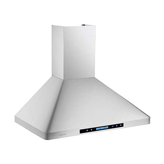 """CAVALIERE 36"""" Inch Wall Mounted Stainless Steel Kitchen Range Hood 900 CFM 5 900 CFM: More powerful then most competitors, this exhaust system is made for heavy duty cooking that removes grease, odors and potentially toxic pollutants from the air in your kitchen Designed with a Whisper quiet single chamber centrifugal blower. The noise level is at 25 decibels on the lowest setting and 56 decibels on the highest speed setting. Built to Last: Commercial grade heavy duty 19 gauge stainless steel construction is non-magnetic and rust proof with a brushed finish. 6"""" inch round ducting comes from the top of the range hood and a adjustable chimney accommodates a 8' ft to 9' ft ceiling. If your ceiling height is above 9' ft, then a higher chimney extension is required. ( Sold Separately)"""
