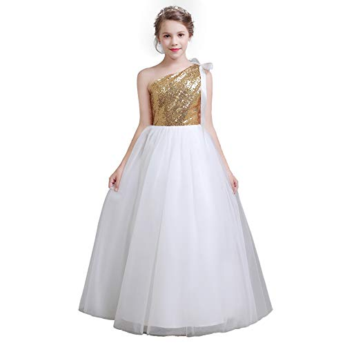 fairy Girl Long Junior Bridesmaid Dresses Sequin Flower Girl Dresses Tulle for Wedding Party Prom Maxi Dress Dance Gown Gold, 9 ()