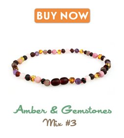 Baltic Amber Teething Necklace (Unisex, 12.5 Inches) with Semi-Precious Gemstones - Matte Smoky Quartz, Rhodonite, Matte Rose Quartz, Matte Amethyst. Lab-Tested, 100% Certified - Teething Pain Relief by Powell's Owls (Image #2)
