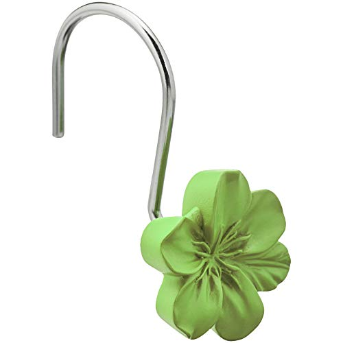 AmazonBasics Shower Curtain Hooks - Flower, Green