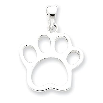 Amazon dog paw print charm sterling silver pendant with 18 dog paw print charm sterling silver pendant with 18quot sterling silver chain aloadofball Image collections