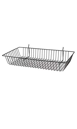 (Black Mini Wire Grid Basket for Slatwall or Pegboard - 24''L x 12''W x 4