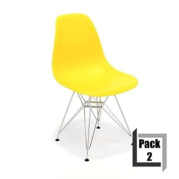CITY HOME Pack de 2 sillas Tower réplica Eames ...