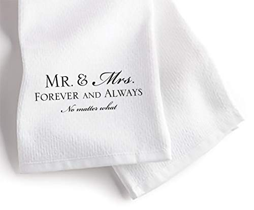 Mr. Mrs. Forever and Always 18 x 22 All Cotton Flour Bag Style Kitchen Tea Towel
