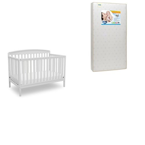Delta Children Brayden 4-in-1 Convertible Crib, Bianca White with  Twinkle Stars Deluxe Crib and Toddler Mattress