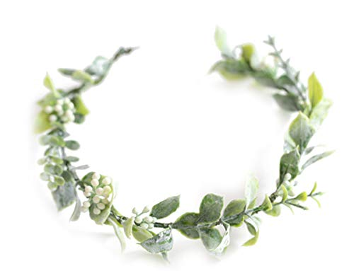 (FIDDY898 Artificial Floral Crown Green Flower Crown Floral Bridal Headpiece for Photo Prop-style 1)