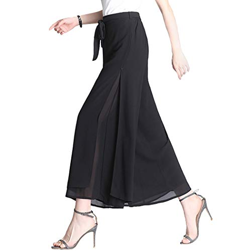 Fendou Women Wide Leg Palazzo Pants Chiffon High Waist Casual Trousers Black, Small (Tag size Asian XL)