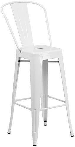 BOWERY HILL Metal 30'' Bar Stool in White
