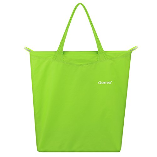 Reusable Shopping Bag, Travel, Gonex Handle Recycle Bag Environmentally Friendly Compact Foldable Water Resistant with Zipper (Light - Shopping Close