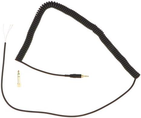 H HILABEE MDR7506 V6ヘッドフォンヘッドセット交換用スプリングオーディオラインケーブル