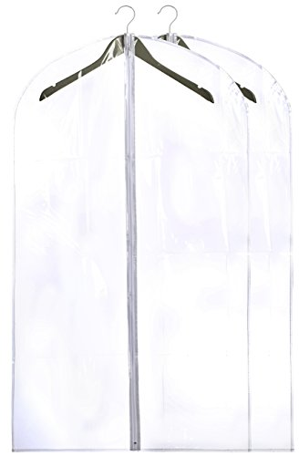 Clear Garment (Clear Vinyl Garment Bag - Protect your Clothing while Traveling and Dust Free while Hanging in your Closet. These Garment Bags are ideal for Coats, Suits, Dresses or Gowns - Set of 2 (24 X 42 Inches))