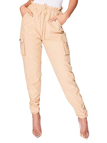 - Lynwitkui Womens Casual Elastic High Waist Drawstring Cargo Jogger Loose Fit Pants Long Length Stretch Tie Butt Lift Pants with Pockets