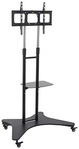 Displays2go Rolling TV Cart with Shelf, Steel and Aluminum Construction, Height Adjustable – Black (TVSVM31NS) by Displays2go