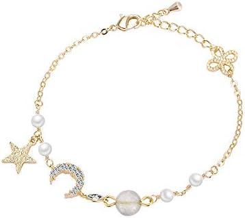 dykee Pulsera De Nudo De Perlas Doradas Decoradas con Perlas De Cristal.