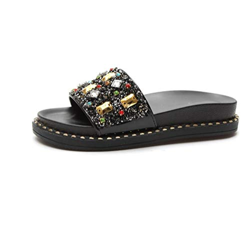 IANXI Home Lady Fashion Rhinestones A Style Slipper with A Thick Bottom Flat with A Word Drag Non-Slip Comfort Muffin and Women's Shoes (Color : Square Diamond Black, Size : 40) -