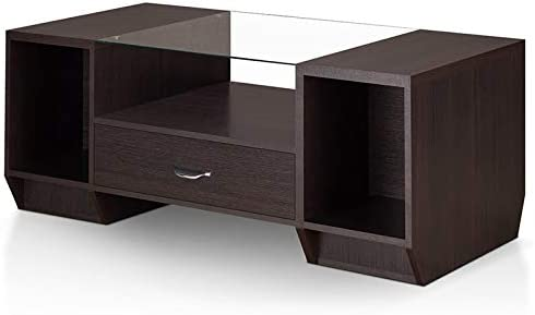 Furniture of America Halzy Glass Top Storage Coffee Table in Espresso