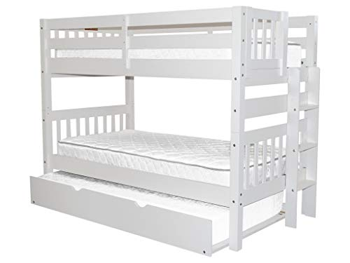 - Bedz King Bunk Bed Twin over Twin with End Ladder and a Twin Trundle, White