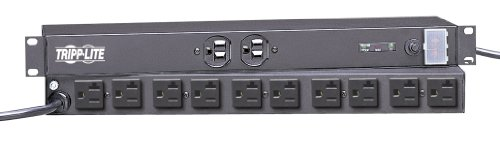 5 20r Plug (Tripp Lite 12 Outlet Isobar Network-Grade Rackmount PDU, 20A Surge Protected Power Strip, 15ft Cord with L5-20P)