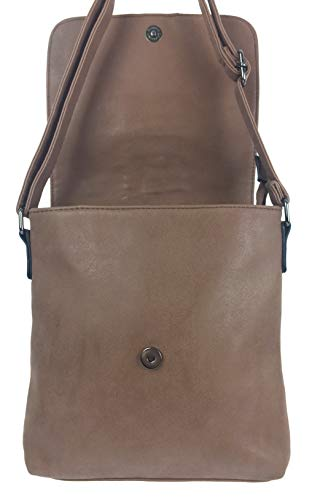 Designer Adjustable Soft Brown BELLA for Bag Classic Shoulder Fastener Across Body Strap Magnetic Italian with Shoulder amp; Bag Zipped Top Handbags Styled Ladies Bpxrqw1B