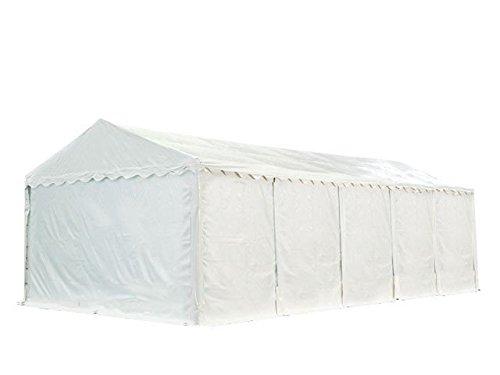 XXL Lagerzelt PROFESSIONAL PLUS 5x10m, hochwertige 550g/m² feuersichere PVC Plane nach DIN in weiß, vollverzinkte Stahlkonstruktion, Ø Stahlrohre ca. 50 mm, Seitenhöhe ca. 2,6 m