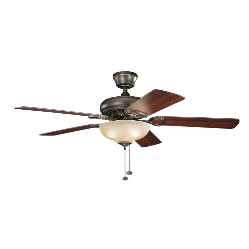 Kichler 339211OZ Sutter Place Select 52IN 3LT Ceiling Fan, Olde Bronze Finish with Reversible Walnut/Medium Cherry Blades and Umber Etched Glass Light Kit Bronze Umber