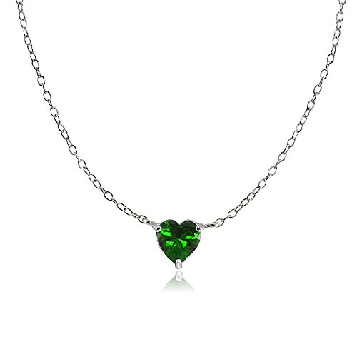 (Ice Gems Sterling Silver Small Dainty Simulated Emerald Heart Choker Necklace)