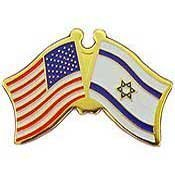 World National Flag (Metal Lapel Pin - American and World National Flag Crossed - Israel)