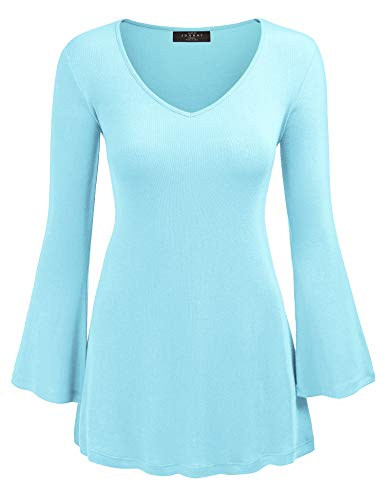 (Made By Johnny WT1055 Womens V Neck Long Bell Sleeves Pullover Tunic Top M Aqua )