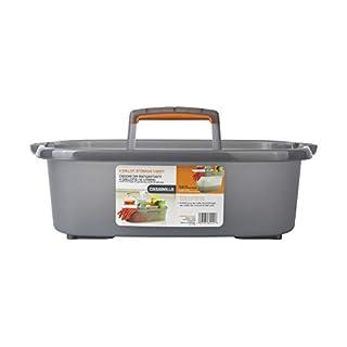 Casabella Rectangular Storage Caddy, Graphite, 4 gallons, Gray and Orange