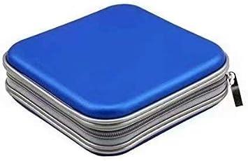 LINSUNG Bolsa de Almacenamiento de 40 Discos CD DVD Billetera Portátil para Viajes de Oficina de automóvil Organizador de Estuches para CD Estuche Blue: Amazon.es: Electrónica