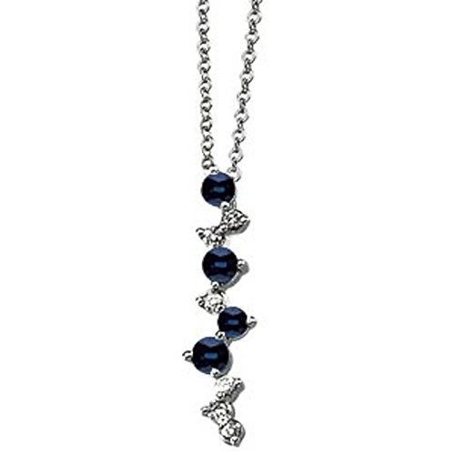 Genuine Blue Sapphire & Diamond Necklace in 14k White Gold (Diamond I1 Necklace)