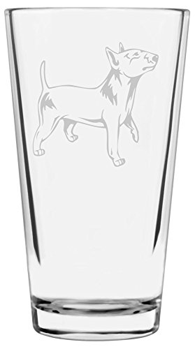 Miniature Bull Terrier Dog Themed Etched All Purpose 16oz Libbey Pint Glass