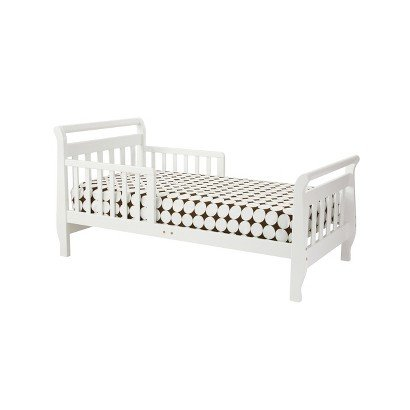 Davinci Sleigh Toddler - White - Children's Kids Bedroom Furniture Sleeping Bed - Sturdy and Easy to Assemble