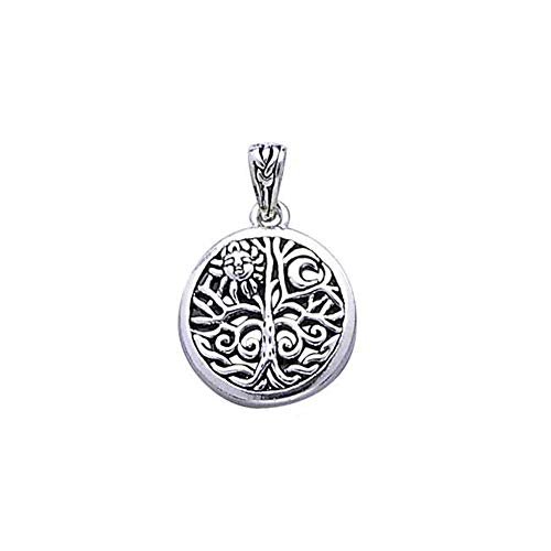 Celtic Tree of Life Art Symbol with Sun and Moon Sterling Silver Pendant with 18