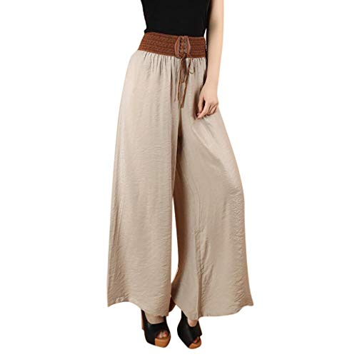 (JOFOW Wide Leg Pants for Women Solid Patchwork Belt Tie Strappy Casual Loose Long Straight High Waist Tunic Swing Trousers (2XL,Beige))