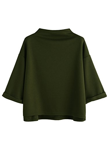 SweatyRocks Women's 3/4 Sleeve Mock Neck Basic Loose T-Shirt Elegant Blouse Top (Medium, Army Green)
