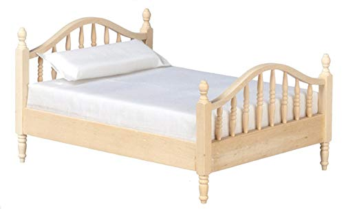 Bedroom Spindle (Unknown Dolls House Unfinished 1:12 Bedroom Furniture Natural Wood Spindle Double Bed)