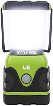 LE Outdoor LED Camping Lantern, 1000lm, Dimmable, Battery Powered, Water Resistant, Camping Gear Equipment Cam