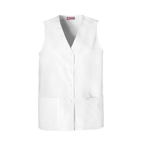 Cherokee 1602 Women's Fashion Solids Front Button Vest White Medium