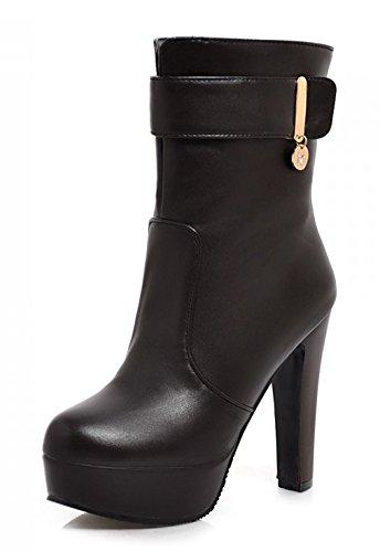 Botines De Hebilla De Cinturón De Moda Para Mujer De Aisun Negro